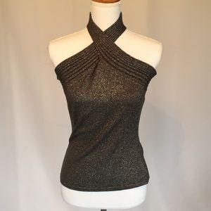 INC Sparkly Gray/Black Knit Top